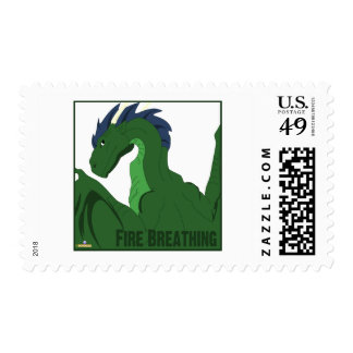Cool Green Dragon Blue Hair Fire Breathing Stamps
