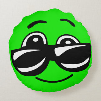Cool Green Emoji with Sunglasses Round Pillow