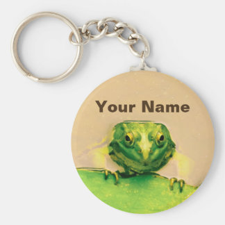 Cool Green Frog Personalized Name Keychain