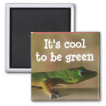 Cool Green Gecko 2 Inch Square Magnet