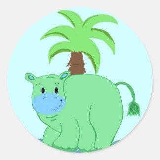 Cool Green Hippo Classic Round Sticker