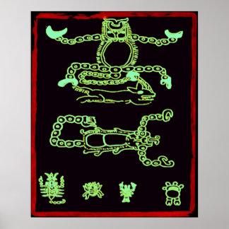 Cool Green Mayan Design Poster