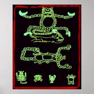 Cool Green Mayan Design Print