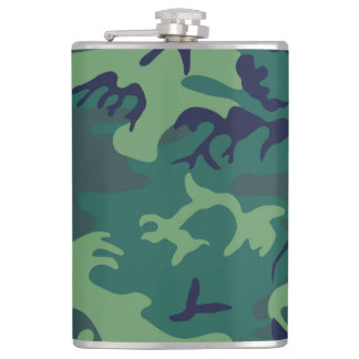Cool Green Military Camouflage Design Flask