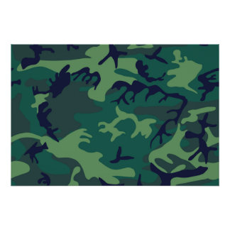 Cool Green Military Camouflage Design Poster