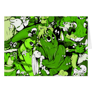 Cool Green Monsters and Zombies Card