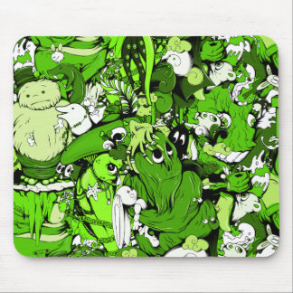 Cool Green Monsters and Zombies Mouse Pad