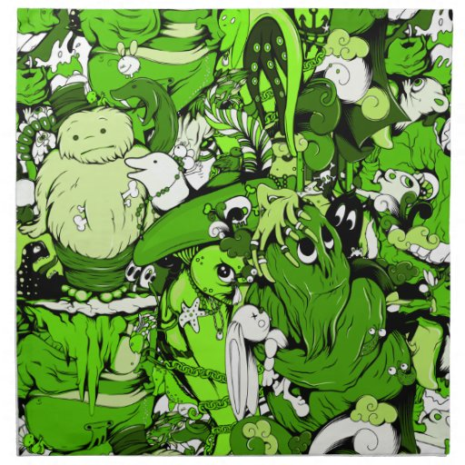 Cool Green Monsters and Zombies Napkins