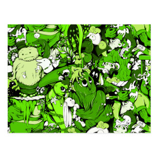 Cool Green Monsters and Zombies Postcard