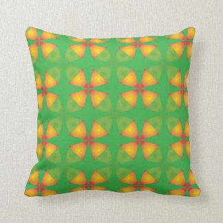 Cool green orange flower pillow