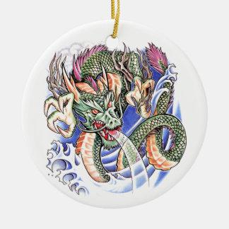 Cool Green Oriental Dragon tattoo Ceramic Ornament