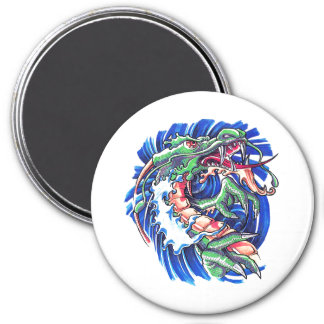 Cool Green Oriental Water Dragon 3 Inch Round Magnet