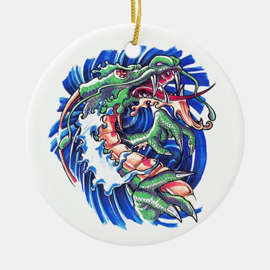 Cool Green Oriental Water Dragon Ceramic Ornament