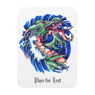 Cool Green Oriental Water Dragon Magnet