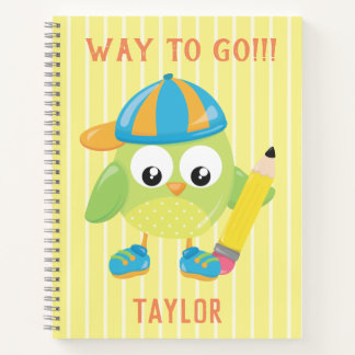 Cool Green Owl Way to Go Notebook