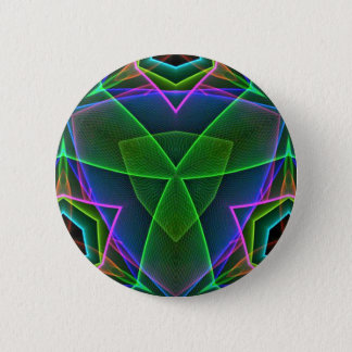 Cool Green Pink Purple Neon Abstract Design Button