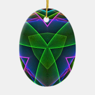Cool Green Pink Purple Neon Abstract Design Ceramic Ornament