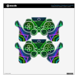 Cool Green Pink Purple Neon Abstract Design Decal For PS3 Controller