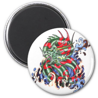 Cool  Green Striped Water Dragon theme magnet