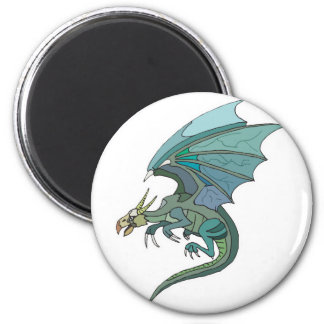 cool green-toned dragon 2 inch round magnet