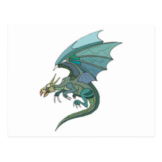 cool green-toned dragon postcard