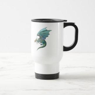 cool green-toned dragon travel mug