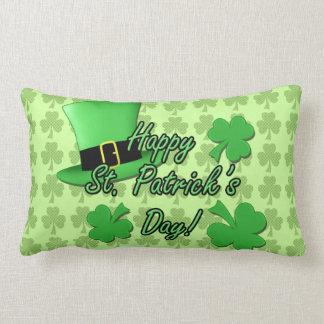 Cool Green top hat Shamrocks Patricks Day PLdesign Lumbar Pillow