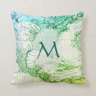 Cool Green Vintage Map of North America Monogram Throw Pillow