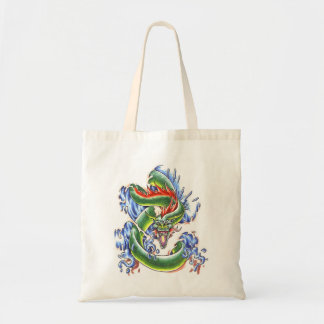 Cool  green water dragon  tattoo bag