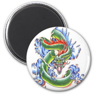 Cool  green water dragon  theme magnet