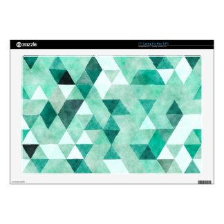 "Cool Green Watercolor Triangle Pattern 17"" Laptop Skin"