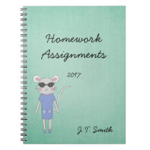 Cool Green With Cute Mouse in Purple Notebook