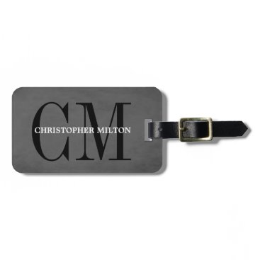 Cool Grey Black Bold Monogram Luggage Tag