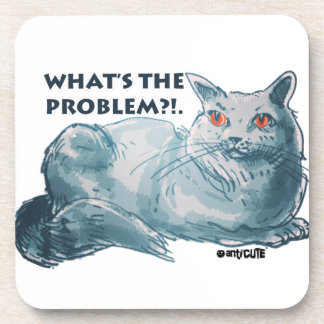 cool grey cat illustration with text beverage coaster