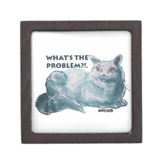 cool grey cat illustration with text keepsake box