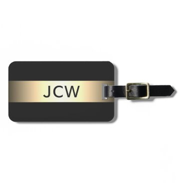 Weaselgift Cool Grey Faux Metal Stripe Bold Monogram Bag Tag
