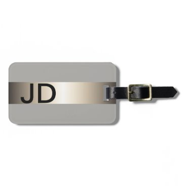 Weaselgift Cool Grey Faux Metal Stripe Bold Monogram Luggage Tag