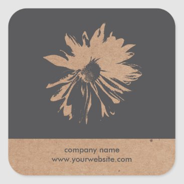 Professional Business Cool Grey Floral Kraft Paper Florist Sticker