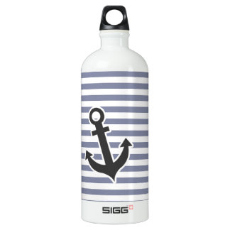 Cool Grey Horizontal Stripes; Anchor Aluminum Water Bottle