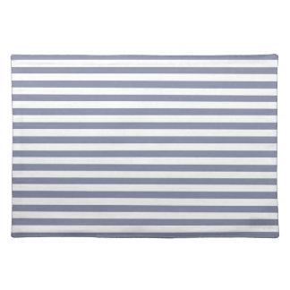 Cool Grey Horizontal Stripes Striped Place Mats