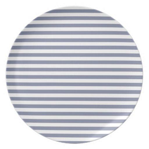 Cool Grey Horizontal Stripes; Striped Dinner Plate