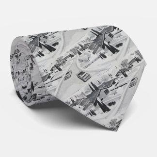 Cool Grey Mid-century Modern Motif Neck Tie