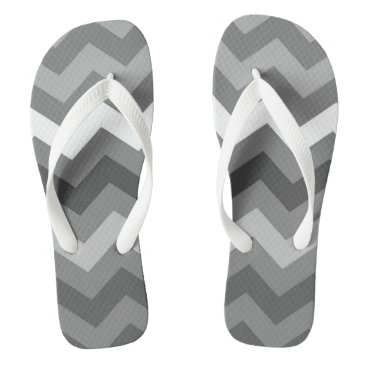 Beach Themed Cool Grey Mono Zig Zag Pattern Flip Flops