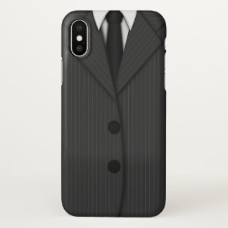 Cool Grey Pinstripe Suit and Tie Manly Gray iPhone X Case