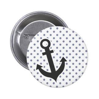 Cool Grey Polka Dots Anchor Pinback Buttons