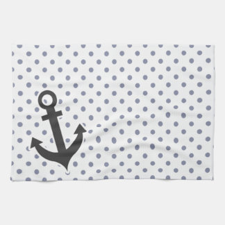 Cool Grey Polka Dots; Anchor Hand Towel