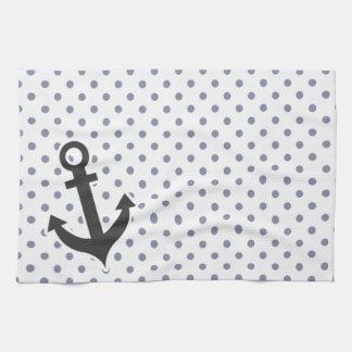 Cool Grey Polka Dots; Anchor Hand Towel