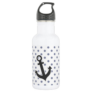 Cool Grey Polka Dots; Anchor Stainless Steel Water Bottle