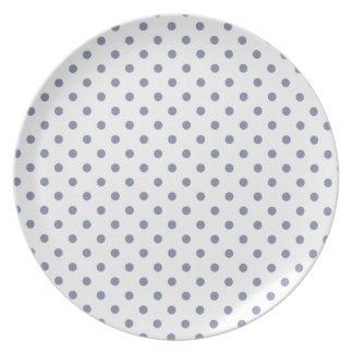 Cool Grey Polka Dots Dinner Plates