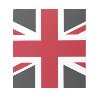 Cool Grey Red Union Jack British(UK) Flag Notepad